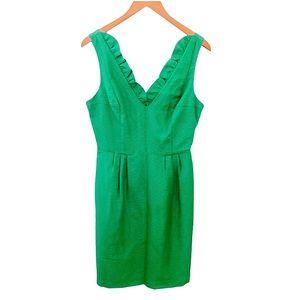 Tracy Reese green silk bench mini sleeveless dress